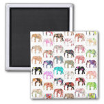 Girly Whimsical Retro Floral Elephants Pattern Square Magnet