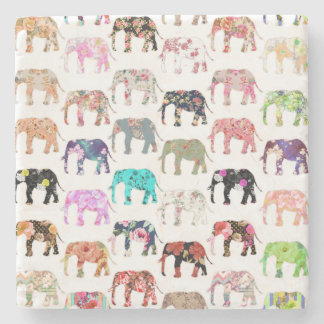 Girly Whimsical Retro Floral Elephants Pattern Stone Coaster