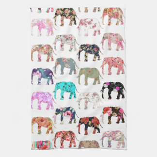 Girly Whimsical Retro Floral Elephants Pattern Tea Towel
