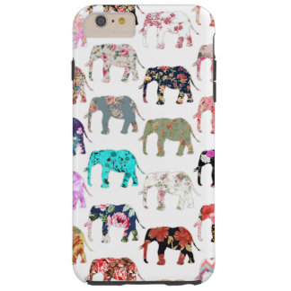 Girly Whimsical Retro Floral Elephants Pattern Tough iPhone 6 Plus Case