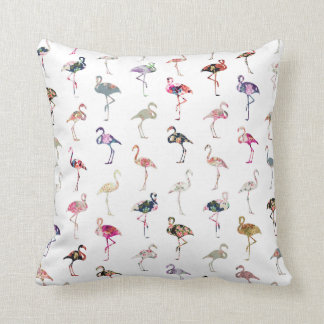 Girly Whimsical Retro Floral Flamingos Pattern Cushion