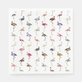 Girly Whimsical Retro Floral Flamingos Pattern Disposable Serviette