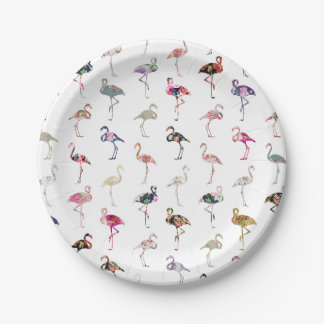 Girly Whimsical Retro Floral Flamingos Pattern Paper Plate