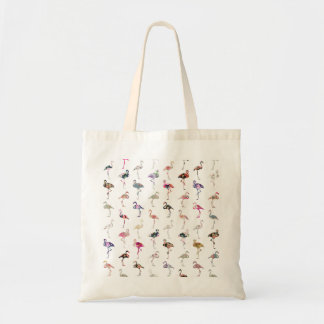 Girly Whimsical Retro Floral Flamingos Pattern Tote Bag