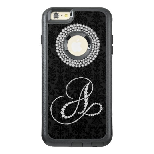Girly White Diamonds Print Monogram Letter A OtterBox