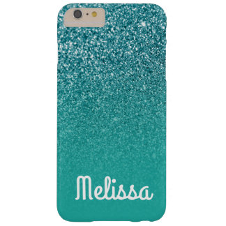 Girly White Personalized Turquoise Ombre Glitter Barely There iPhone 6 Plus Case