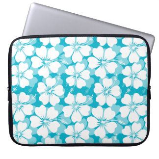 Girly White Tropical Hibiscus Pattern on Turquoise Laptop Sleeve
