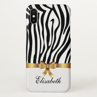 Girly White zebra stripes Golden BOW personalized iPhone X Case