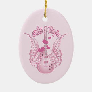 Girly Winged Guitar Christmas Ornament