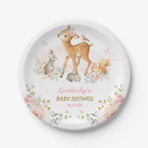 Girly Woodland Forest Animals Deer Bunny Squirrel Paper Plate