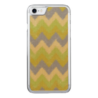 Girly Yellow and Gray Bohemian Chevron Pattern Carved iPhone 8/7 Case