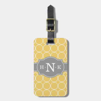 Girly Yellow Circle Pattern Grey Monogram Luggage Tag