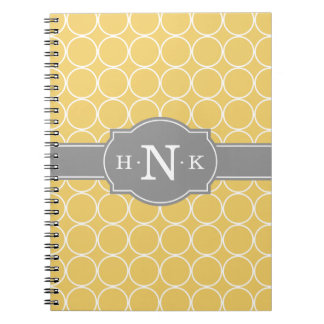 Girly Yellow Circle Pattern Grey Monogram Notebooks