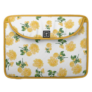 girly yellow roses on white sleeve for MacBooks