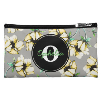 Girly Yellow Watercolor & Ink Flowers & Name Makeup Bag