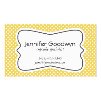 Girly Yellow White Polka Dots Business Card