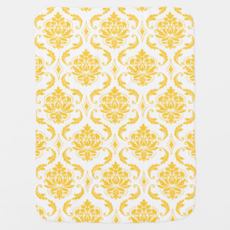 Girly Yellow White Vintage Damask Pattern Baby Blanket