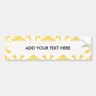 Girly Yellow White Vintage Damask Pattern Bumper Sticker