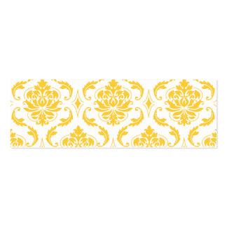 Girly Yellow White Vintage Damask Pattern Business Card