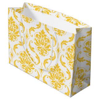 Girly Yellow White Vintage Damask Pattern Large Gift Bag
