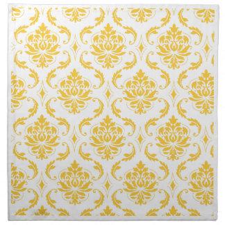 Girly Yellow White Vintage Damask Pattern Napkin