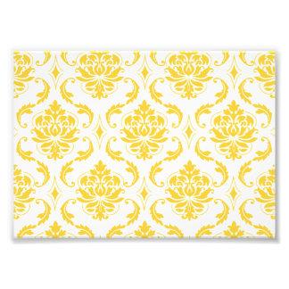 Girly Yellow White Vintage Damask Pattern Photograph
