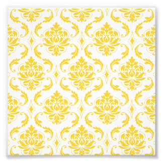 Girly Yellow White Vintage Damask Pattern Photographic Print
