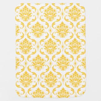 Girly Yellow White Vintage Damask Pattern Receiving Blanket