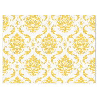 Girly Yellow White Vintage Damask Pattern Tissue Paper