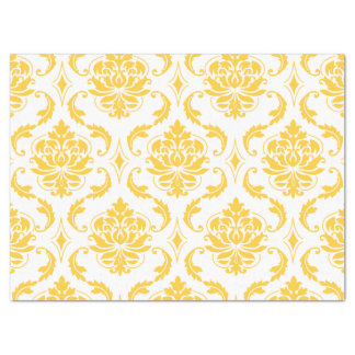 Girly Yellow White Vintage Damask Pattern Tissue Paper