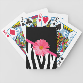 Girly Zebra Pattern Cute Pink Daisy With Name Bicycle Playing Cards