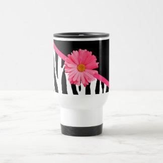 Girly Zebra Pattern Cute Pink Daisy With Name Travel Mug