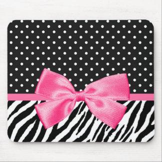 Girly Zebra Print Polka Dots and Cute Pink Ribbon Mouse Mat