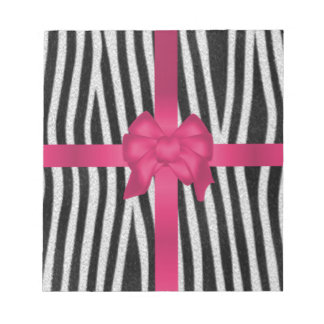 girly zebra skin black and white pink bow notepad