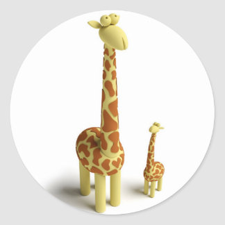 Girrafe And baby Giraffe Round Sticker
