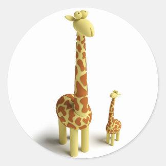 Girrafe And baby Giraffe Classic Round Sticker