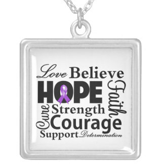 GIST Cancer Collage of Hope Square Pendant Necklace
