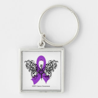GIST Cancer Tribal Butterfly Ribbon Key Chain