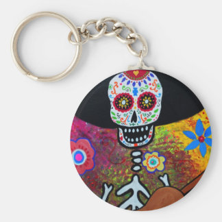 Gitarero Serenata Dia de los Muertos Basic Round Button Key Ring