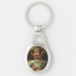 Giuseppe Arcimboldo - Vertumnus Silver-Colored Oval Key Ring