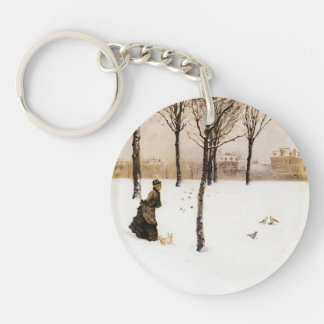 Giuseppe de Nittis- A Winter's Landscape Single-Sided Round Acrylic Key Ring