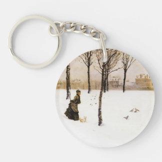 Giuseppe de Nittis- A Winter's Landscape Single-Sided Round Acrylic Keychain