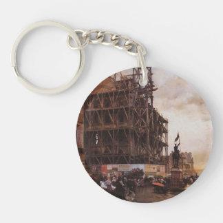 Giuseppe de Nittis- The Place des Pyramides, Paris Single-Sided Round Acrylic Keychain
