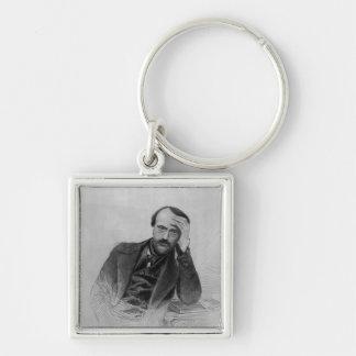 Giuseppe Mazzini Silver-Colored Square Key Ring