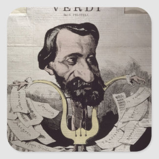 Giuseppe Verdi , caricature, 1860's Sticker