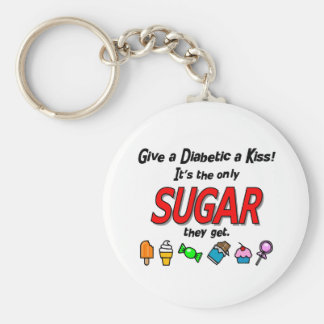 Give a Diabetic a Kiss Basic Round Button Key Ring