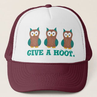 Give a HOOT Cartoon Owl Bird Eyes Owls Hat
