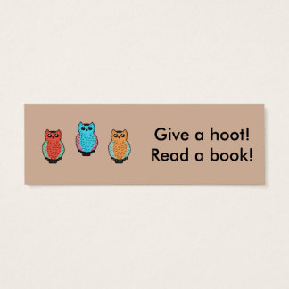 Give a Hoot Classroom Bookmarks Mini Business Card