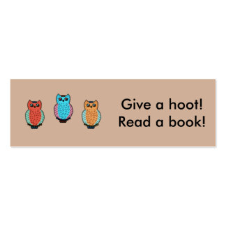 Give a Hoot Classroom Bookmarks Pack Of Skinny Business Cards