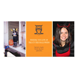 Give a hoot cute owl orange Halloween two photos Card